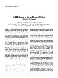 Field Behavior of the Nudibranch Mollusc Tritonia diomedea